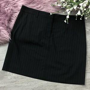 Theory Pinstripe Suit Stretch Wool Mini Skirt